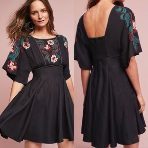 Anthropologie Priscilla Embroidered Black Dress